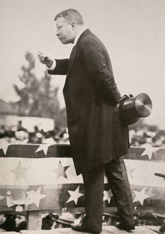 american elections/president theodore roosevelt campaigning re election