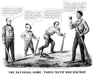baseball/presidential campaign 1860 pro lincoln cartoon