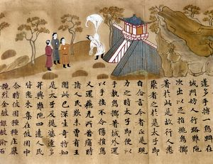 Prince Gautama lifts up an elephant. Japanese silk painting, 8th century.