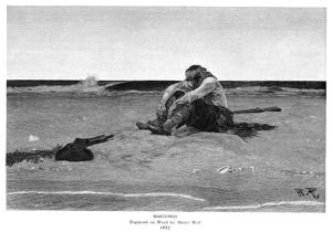anthropology/pyle marooned 1887 wood engraving henry wolf