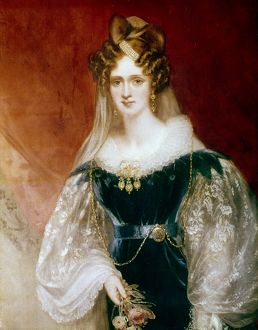 QUEEN ADELAIDE OF ENGLAND. (1792-1849). Canvas by Sir William Beechey