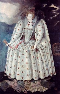 QUEEN ELIZABETH I (1533-1603). Queen of England and Ireland, 1558-1603. Oil on canvas