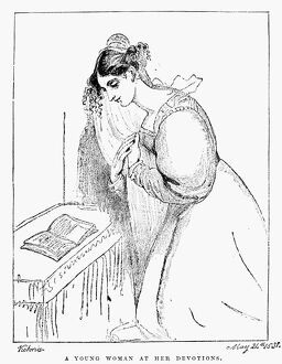 QUEEN VICTORIA: SKETCH. 'A Young Woman at Her Devotions