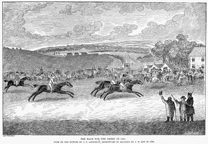 The race for the derby in 1791. Line engraving, 1885, after an original painting
