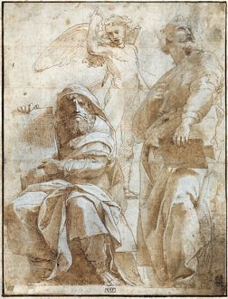 RAPHAEL: STUDY, c1510. /nStudy by Raphael for a fresco of the prophets Hosea and Jonah