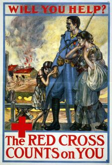 RED CROSS POSTER, 1917. American Red Cross poster from World War I, 1917.