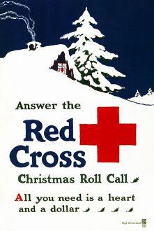 RED CROSS POSTER, c1915. American Red Cross campaign poster during Christmas time