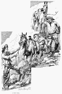 REMINGTON: COWBOYS, 1887. 'A Hard Trail.' Drawing, 1887, by Frederic Remington