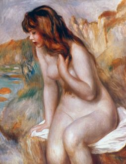 RENOIR: BATHER ON A ROCK. Oil on canvas, 1892, by P.A. Renoir.