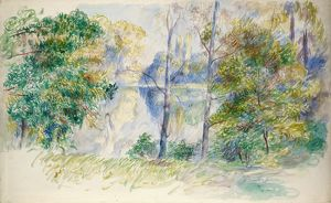 RENOIR: VIEW OF A PARK. Watercolor and gouache, Pierre-Auguste Renoir, 1885