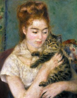 RENOIR: WOMAN WITH A CAT. Pierre Auguste Renoir: Woman with a Cat. Canvas, c1875.