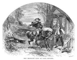 On his ride from Boston to Lexington, April 18, 1775. Line engraving, 19th century.