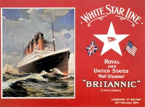 R.M.S. BRITANNIC: POSTCARD. The White Star liner 'Britannic', launched