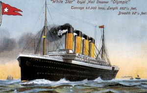 R.M.S. OLYMPIC: POSTCARD. The White Star liner 'Olympic', launched on 20
