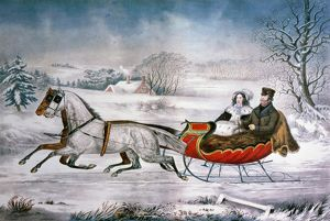 THE ROAD-WINTER, 1853. Lithograph, 1853 by Nathaniel Currier.