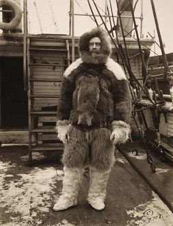 ROBERT PEARY (1856-1920). American arctic explorer. Peary on deck of his ship, 'Roosevelt