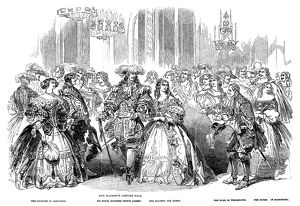 ROYAL COSTUME BALL, 1851. Queen Victoria and Prince Albert (center) at the Queen's