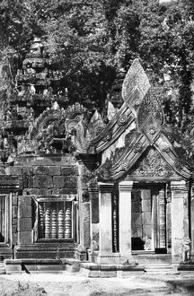 Ruins of the temple complex at Angkor, Cambodia. Photographed 1959.