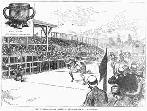 Running the hurdles at the American inter-collegiate athletic games, 1881