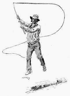 RUSSELL: BULL WHACKER. Drawing by Charles M. Russell (1864-1926)