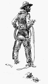 RUSSELL: THE COWBOY. Drawing by Charles M. Russell (1864-1926)