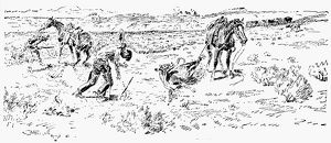 RUSSELL: RUSTLERS. 'Rustlers Caught in the Act.' Drawing by Charles M. Russell