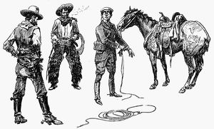 RUSSELL: TENDERFOOT. 'Initiation of the Tenderfoot.' Drawing by Charles M. Russell
