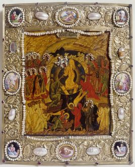 RUSSIAN ICON: HELL. The Harrowing of Hell. Jesus and angels saving people from Hell