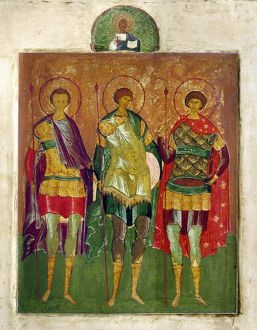 RUSSIAN ICON: SAINTS. /nThree warrior saints. Tempera on wood Russian Orthodox icon