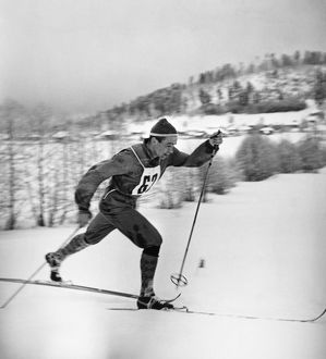 Russian Olympic cross-country skier. Photographed c1960