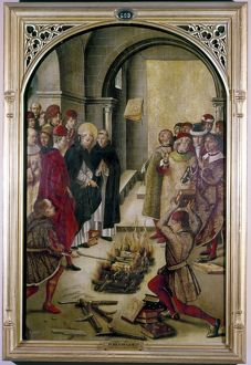 SAINT DOMINIC. Saint Dominic of Guzman, throwing heretical books into a fire