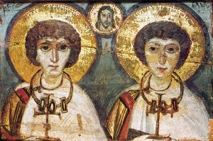 SAINTS SERGIUS AND BACCHUS. /nByzantine icon of Saint Sergius and Saint Bacchus