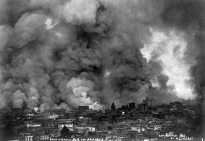 SAN FRANCISCO EARTHQUAKE. Aerial view of the burning city, following the earthquake