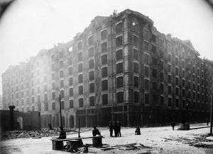 SAN FRANCISCO EARTHQUAKE. Damaged seven story building, following the earthquake
