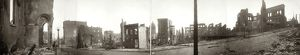 SAN FRANCISCO EARTHQUAKE. Panoramic view of the ruins from Bush Street, near Stockton