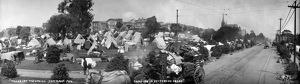 SAN FRANCISCO EARTHQUAKE. Panoramic view of tents in a camp for refugees in Jefferson