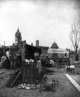 SAN FRANCISCO EARTHQUAKE. A refugee camp, following the earthquake of 18 April 1906