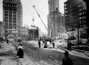 SAN FRANCISCO EARTHQUAKE. Repairing the destruction at Third, Kearney, and Market streets