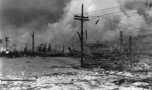 SAN FRANCISCO EARTHQUAKE. Ruins with damaged powerlines, following the earthquake