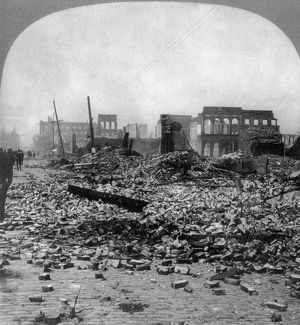 SAN FRANCISCO EARTHQUAKE. The ruins of the wholesale district, Battery north