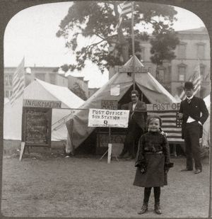 SAN FRANCISCO EARTHQUAKE. A young girl with two men standing in front of the tent