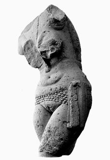 Sandstone sculpture fragment of a Yakshini, a benevolent tree spirit in Sanskrit mythology