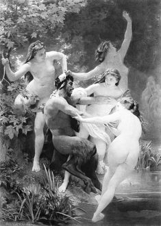 mythology/satyr nymphs photogravure oil painting 1873