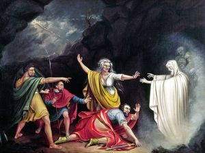 SAUL & WITCH OF ENDOR. Oil on canvas, 1828, by William Sidney Mount.