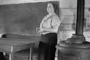 SCHOOLTEACHER, 1935. A schoolteacher at Shenandoah National Park, Virginia