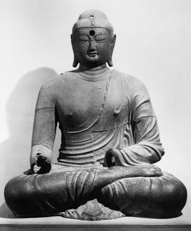 Seated Buddha. Cast iron, early 9th century A.D. Height: 150 cm.