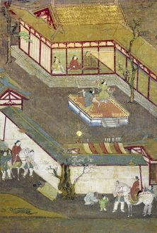 Seated with his father and mother, Prince Gautama is entertained by dancers. Japanese silk painting