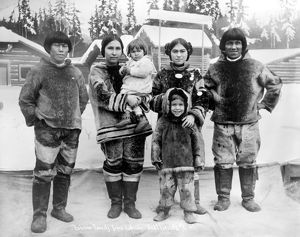 SEATTLE: ESKIMO FAMILY. An Eskimo family from Labrador, Canada, at the