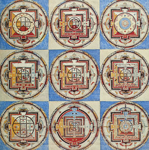 A series of Tibetan mandalas from a temple wall.