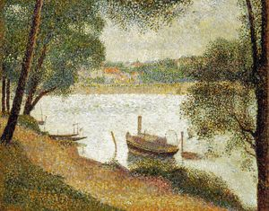 SEURAT: GRAY WEATHER. Georges Seurat: Gray Weather, Grand Jatte. Oil on canvas, c1888.